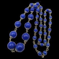 """Art Deco Czech Glass Beaded Faux Lapis Lazuli Blue Necklace - 26"""""""