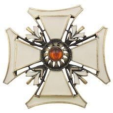 Vintage Enamel Maltese Cross Japanned Glass Cabochon Brooch