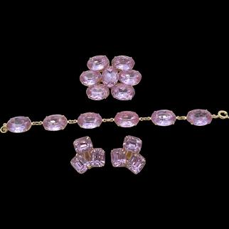 Stunning Light Purple Headlight Rhinestone Bracelet, Brooch and Earring Set