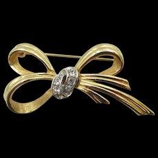 Signed BOUCHER Crystal Rhinestone Bow Vintage Brooch