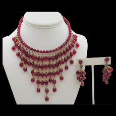 Cascading Vintage Ruby Red Glass Bead Waterfall Necklace and Drop Earring Set