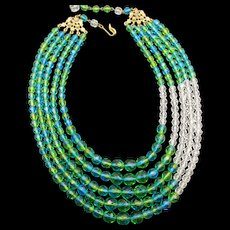 Signed Schiaparelli Bicolor Blue Green Faceted Glass Five Strand Necklace