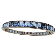Art Deco Sterling Blue Rhinestone Hinged Bangle Bracelet