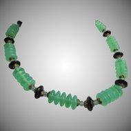 Art Deco Black & Vaseline Uranium Art Glass Bead Necklace RARE