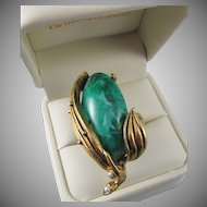 Vintage Faux Malachite Cabochon Big, Bold Costume Ring