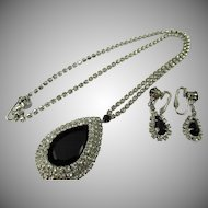 LAST CHANCE:  Vintage Signed Hobe Teardrop Rhinestone Necklace and Drop Earrings