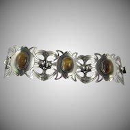 Vintage Mexico 925 Sterling Panel Tiger's Eye Cabochon Bracelet