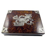 Chinese Faux Painted Lacquer Box with Detailed Silver Stylized Bird Overlay