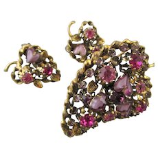 Austrian Pink Rhinestones and Purple Hearts Brooch and Earring Set