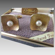 Krementz 14K Gold Overlay Cultured Pearl Cufflinks in Original Box