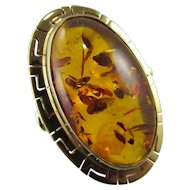 Vintage 14K 22mm Genuine Oval Baltic Amber Ring
