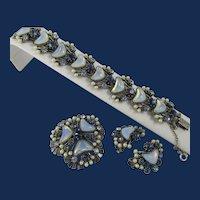 Vintage Florenza Crescent Shaped Moonstone and Pearl Blue Rhinestone Demi Parure