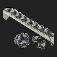 Vintage Florenza Crescent Shaped Moonstone and Pearl Blue Rhinestone Demi Parure