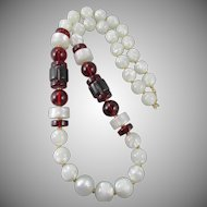 LAST CHANCE:  Vintage Monet Moonglow Lucite Beaded 30 in. Necklace