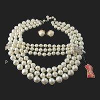 Schiaparelli Faux Pearl Triple Strand Necklace & Bracelet w/tag Parure 1957