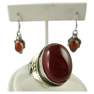 Sterling Silver Carnelian Ring and Pierced Earring Set