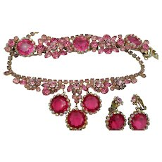 DeLizza & Elster Juliana Pink Framed Rhinestone Parure - Book Piece