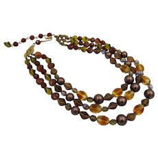 Signed Schiaparelli Triple Strand Art Glass Beaded Couture Necklace