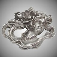 Art Nouveau Signed William Kerr Sterling Woman Brooch