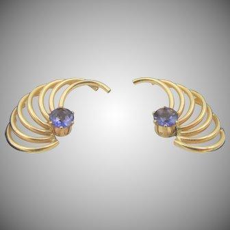 14k Gold Tanzanite Stud Winged Jacket Earrings