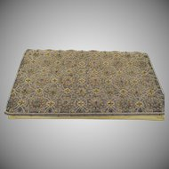 LAST CHANCE:  Vintage Taupe Satin Zardozi Gold Embroidered Clutch Purse