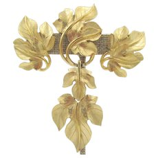 Kunio Matsumoto for Trifari Gold Leaf Brooch and Earring Set