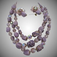 LAST CHANCE:  Vendome Orchid Art Glass Triple Strand Necklace and Earrings