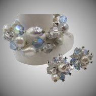 Vendome Faux Pearl and Glass Crystal Three Row Bracelet and Earrings