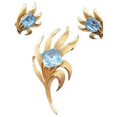 Crown Trifari Blue Square Rhinestone Brooch and Earrings