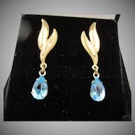 14k Brushed Yellow Gold Pierced Blue Topaz Drop Pierced Earrings