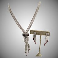 Hobe Crystal and Purple Rhinestone Waterfall Necklace and Earrings
