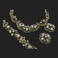 Florenza Green Rhinestone and Faux Pearl Necklace,Bracelet and Earring Parure