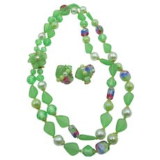 LAST CHANCE:  Western Germany Green Art Glass Double Strand Necklace and Earrings