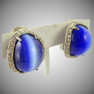 Sterling 925 Blue Cat's Eye Rhinestone Clip Earrings
