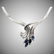 Estate 14k White Gold Sapphire and Diamond Necklace Italy