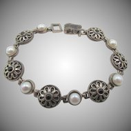 LAST CHANCE:  Sterling Silver Onyx and Faux Pearl Sterling Bracelet