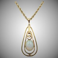 Estate 14k Opal Pendant and 14k Rope Chain Necklace