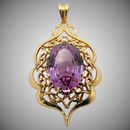 Estate 18k Gold Purple Sapphire Filigree Pendant