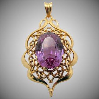 Estate 18k Gold Purple Sapphire Filigree Pendant