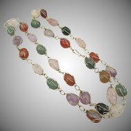 LAST CHANCE: Caged Polished Semi-Precious Stone Necklace