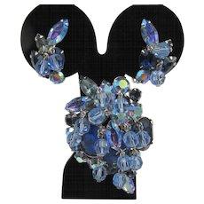 Kramer Blue Rhinestone Dangle Brooch and Earring Set