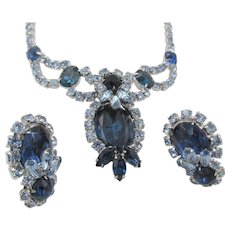 LAST CHANCE: Sparkling Sapphire Blue Rhinestone Rhodium Plated Necklace and Earring Set