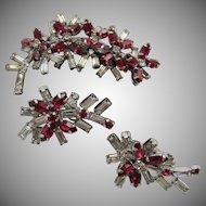 Kramer of New York Red and Crystal Spray Brooch and Earrings