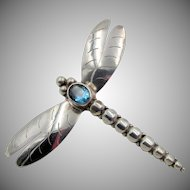 Sterling Silver Blue Topaz Dragonfly Brooch