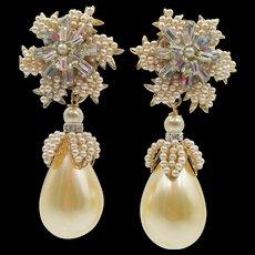 Lawrence Vrba Snowflake Pearl Drop Earrings