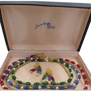Crown Trifari Jewels Of India Necklace and Earrings In Orig Box