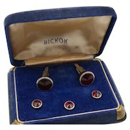 Vintage Hickok Cufflinks Tux Set Original Velvet Box
