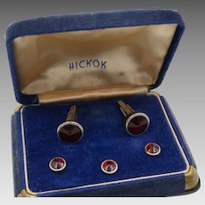 Vintage Hickok Cufflinks Tux Set Original Velvet Box