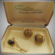 Executive Collection Genuine Tigers Eye Cufflink Set in Original Box
