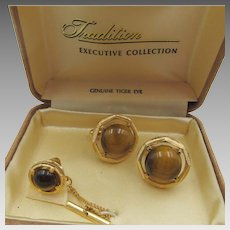 Executive Collection Genuine Tigers Eye Cufflink Set in Original Box
